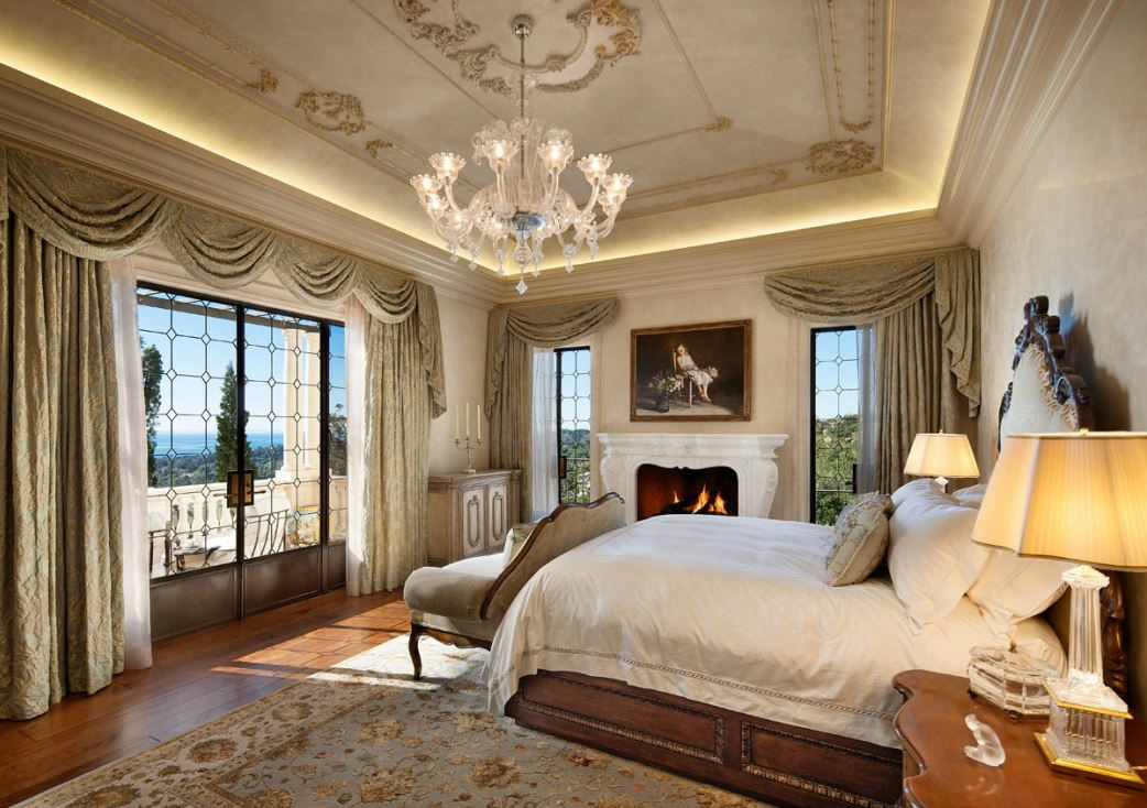 Italian palazzo in montecito by sfa design dk decor for Mediterranean master bedroom