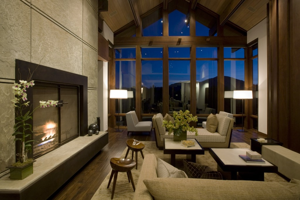 Licious Living Room Window Furnishings: Contemporary Mountain Retreat