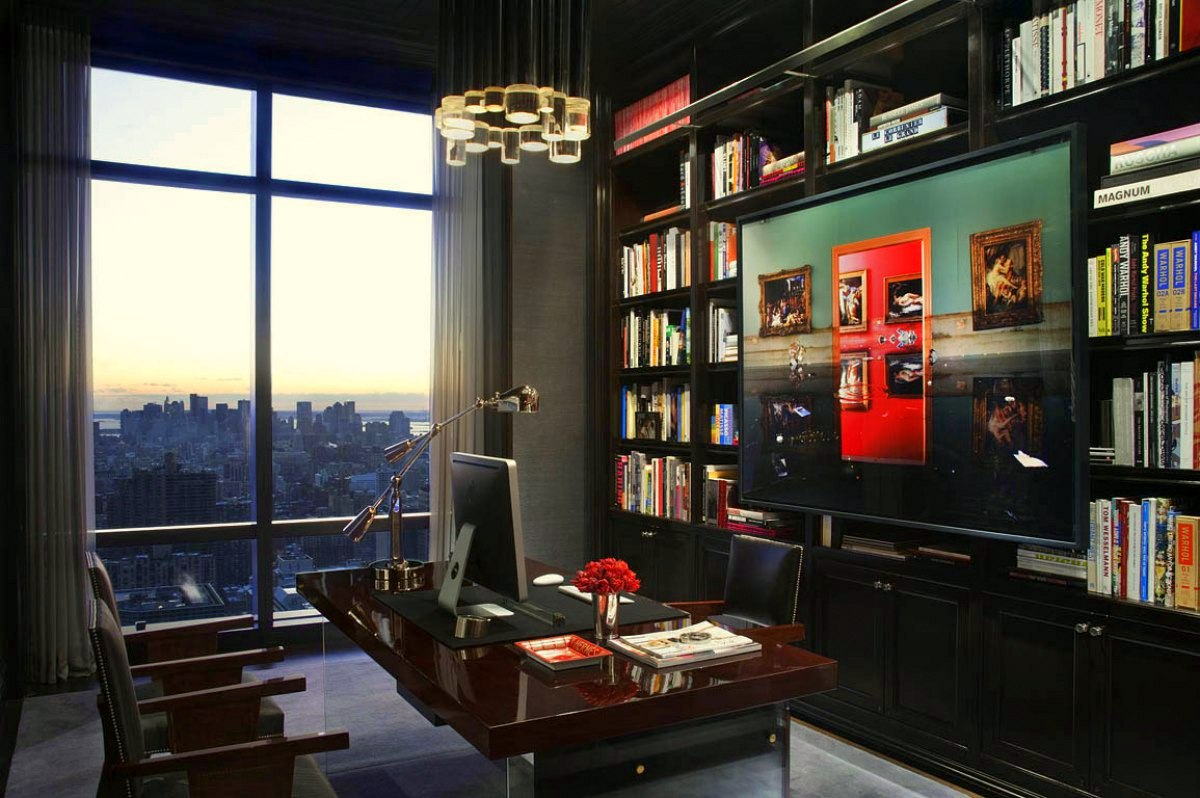 20 brilliant and inspiring home libraries dk decor for Trump tower new york penthouse