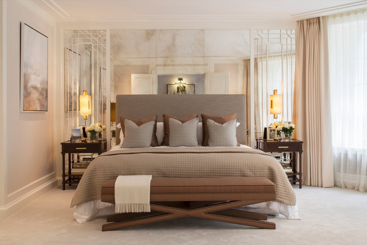 Bedroom Mirrored Furniture Contemporary Regency Design In Belgravia Dk Decor