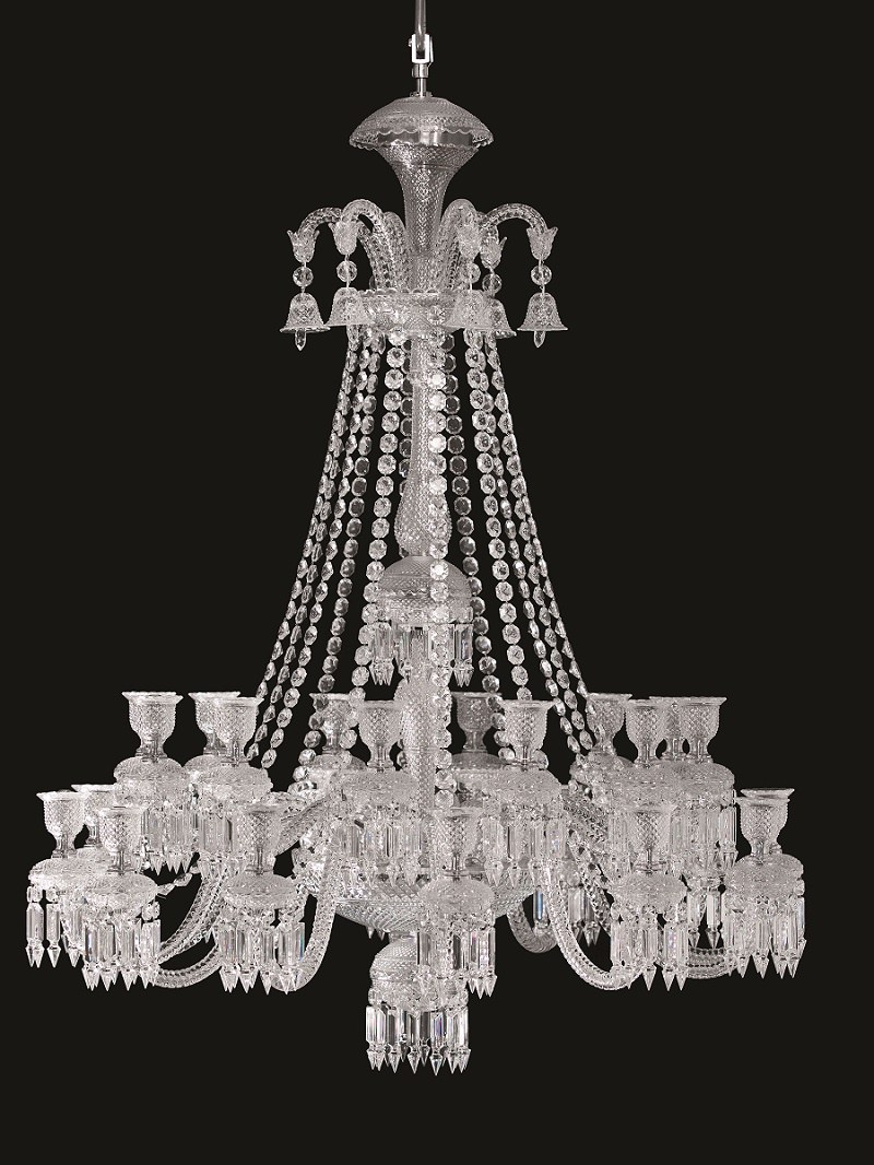 baccarats zenith comete 24 chandelier unites baccarats storied past with the present day thrill of technology the zenith comete is a high tech version of baccarat zenith arm black crystal chandelier