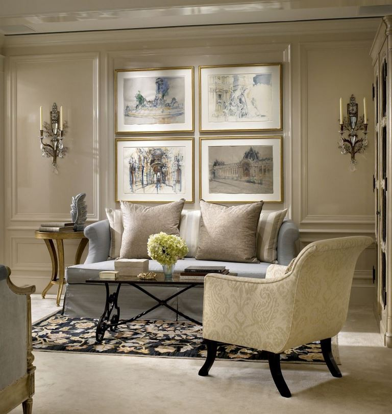 Contemporary Beaux Arts master bedroom sitting area