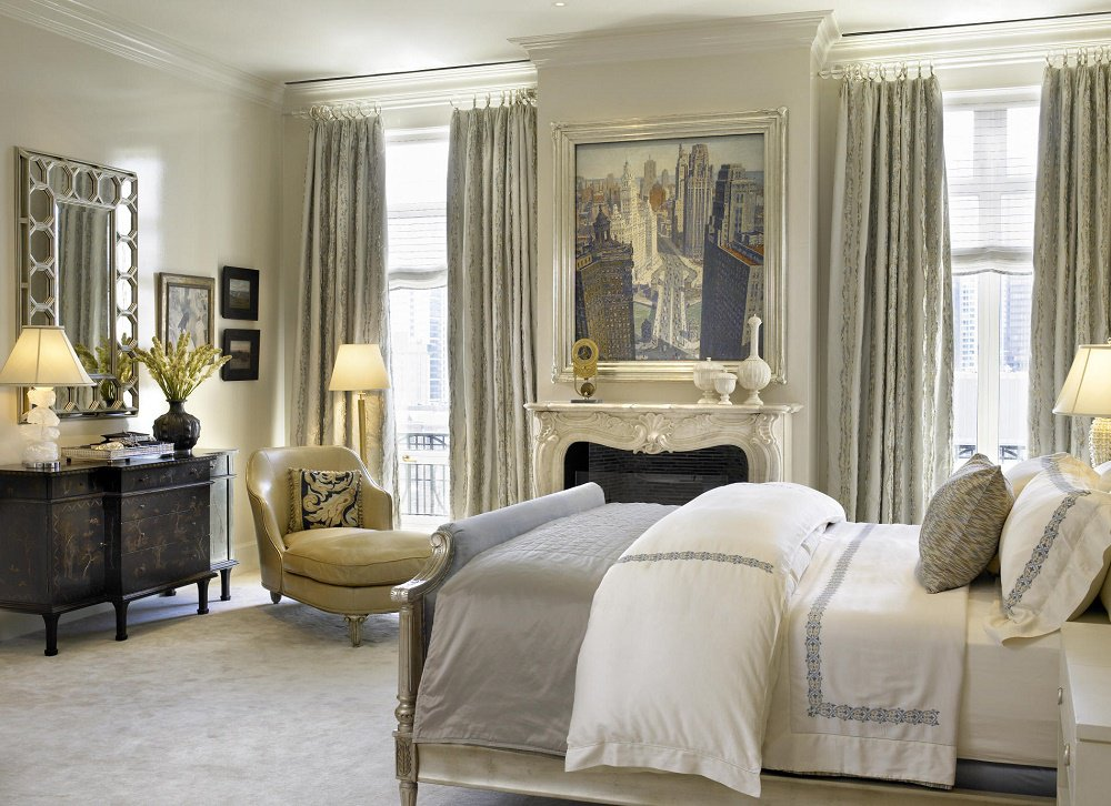 Contemporary Beaux Arts master bedroom
