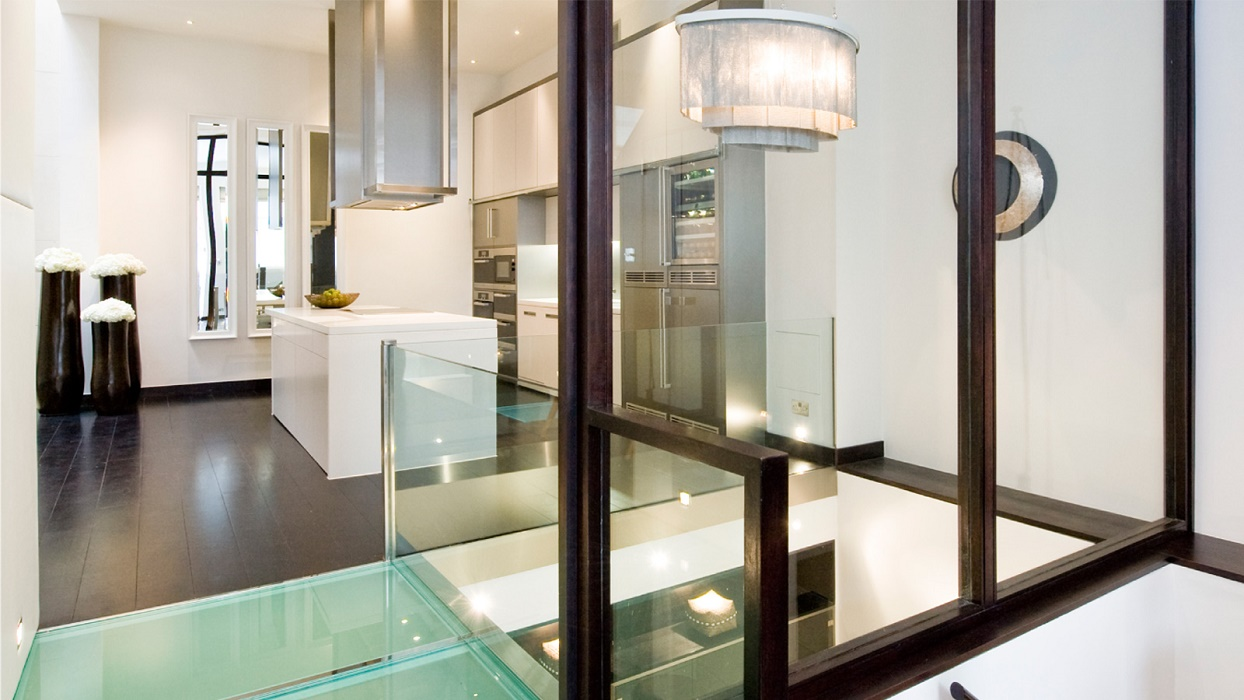 Landmass mews glass wall top residential interior design for Interior design firms london
