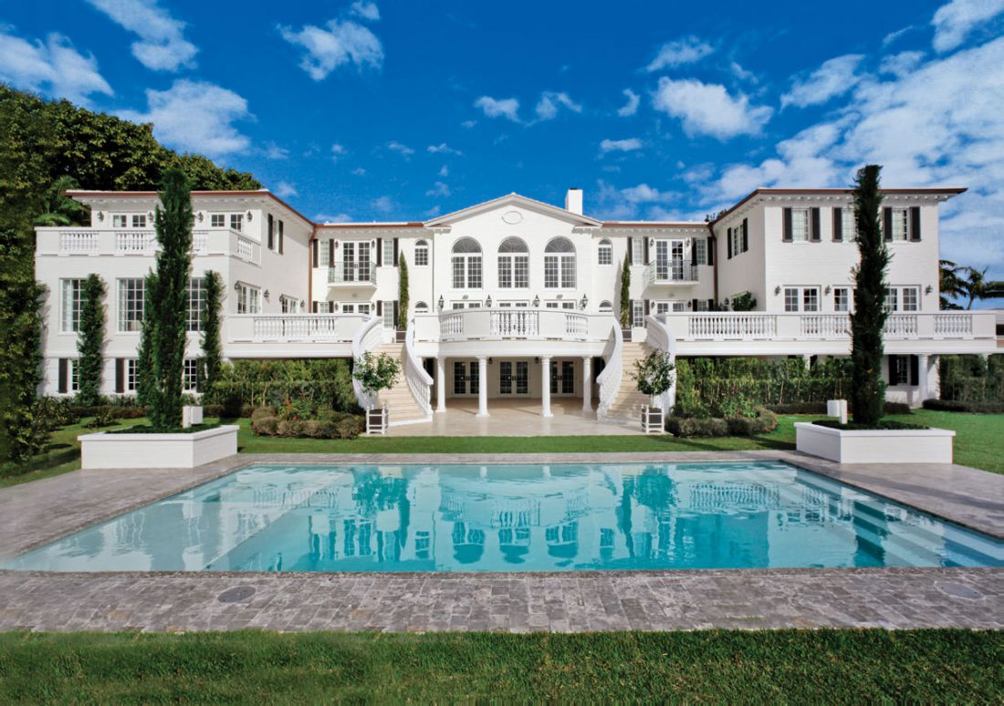 biscayne bay waterfront mansion exterior rear full