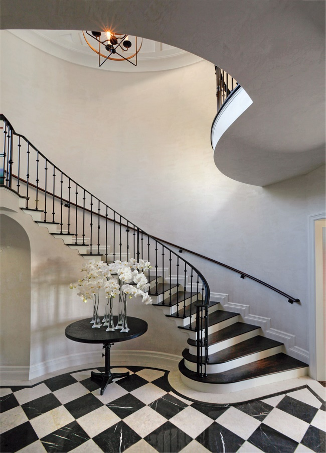 biscayne bay waterfront mansion foyer stairs