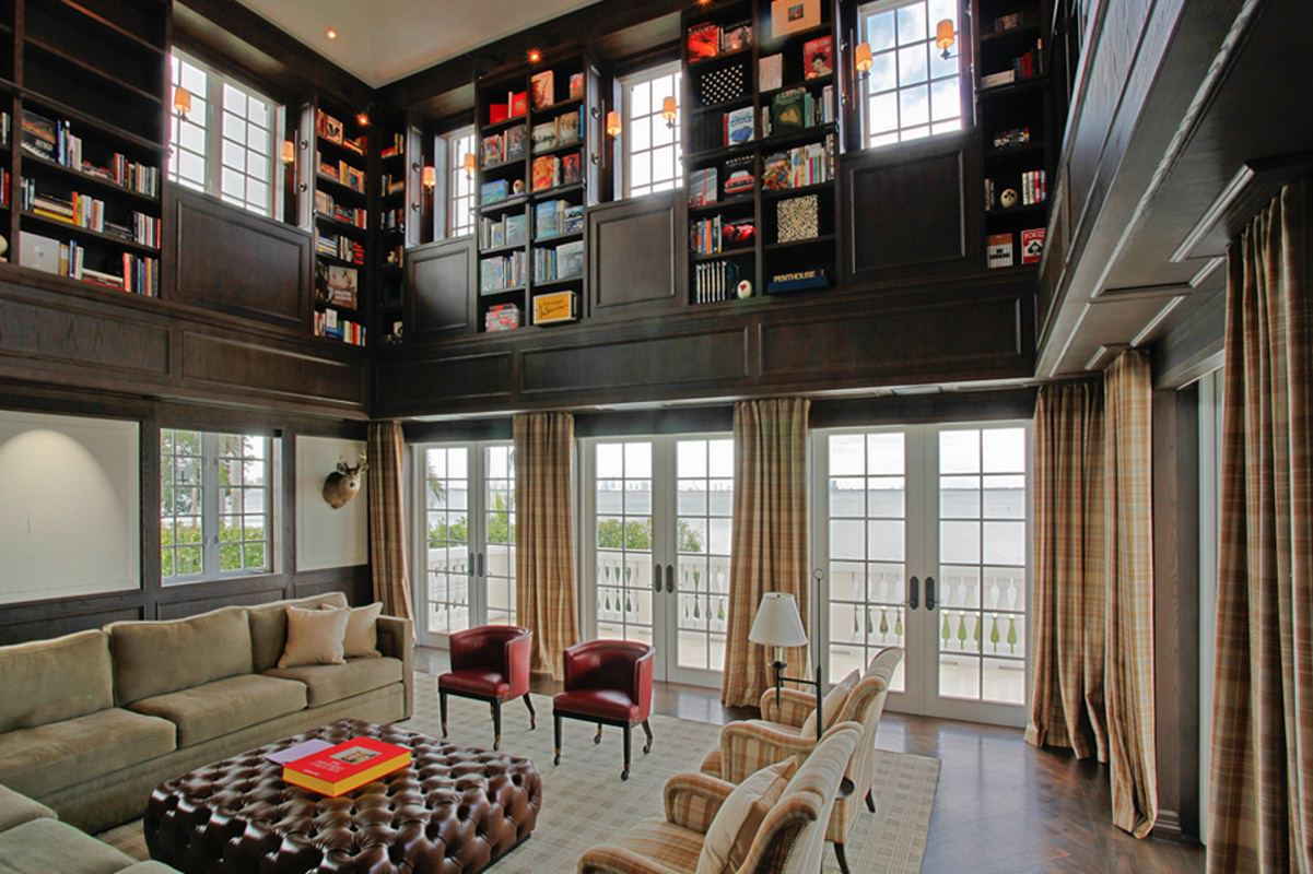 biscayne bay waterfront mansion library b