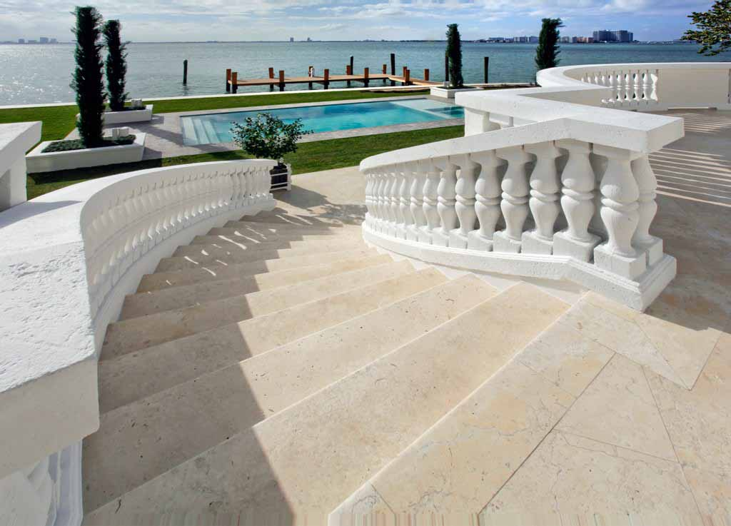 biscayne bay waterfront mansion rear lawn