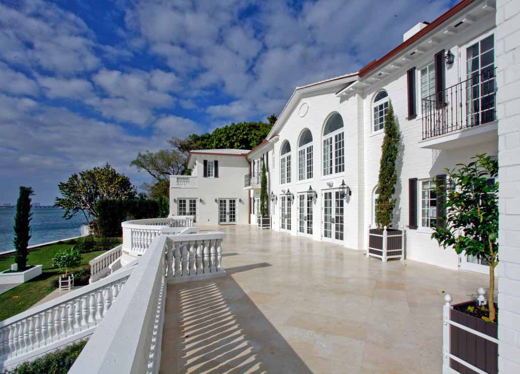 biscayne bay waterfront mansion rear terrace