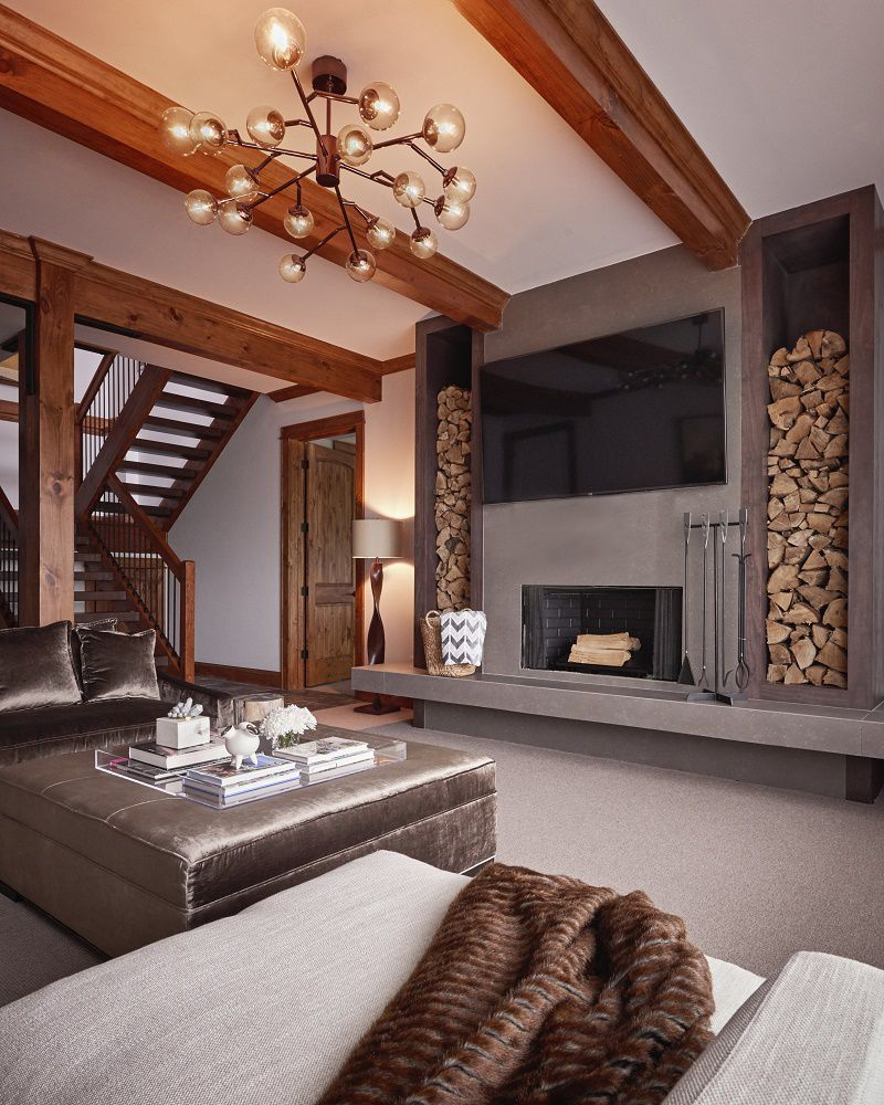 Firethorn mountain retreat family room fireplace