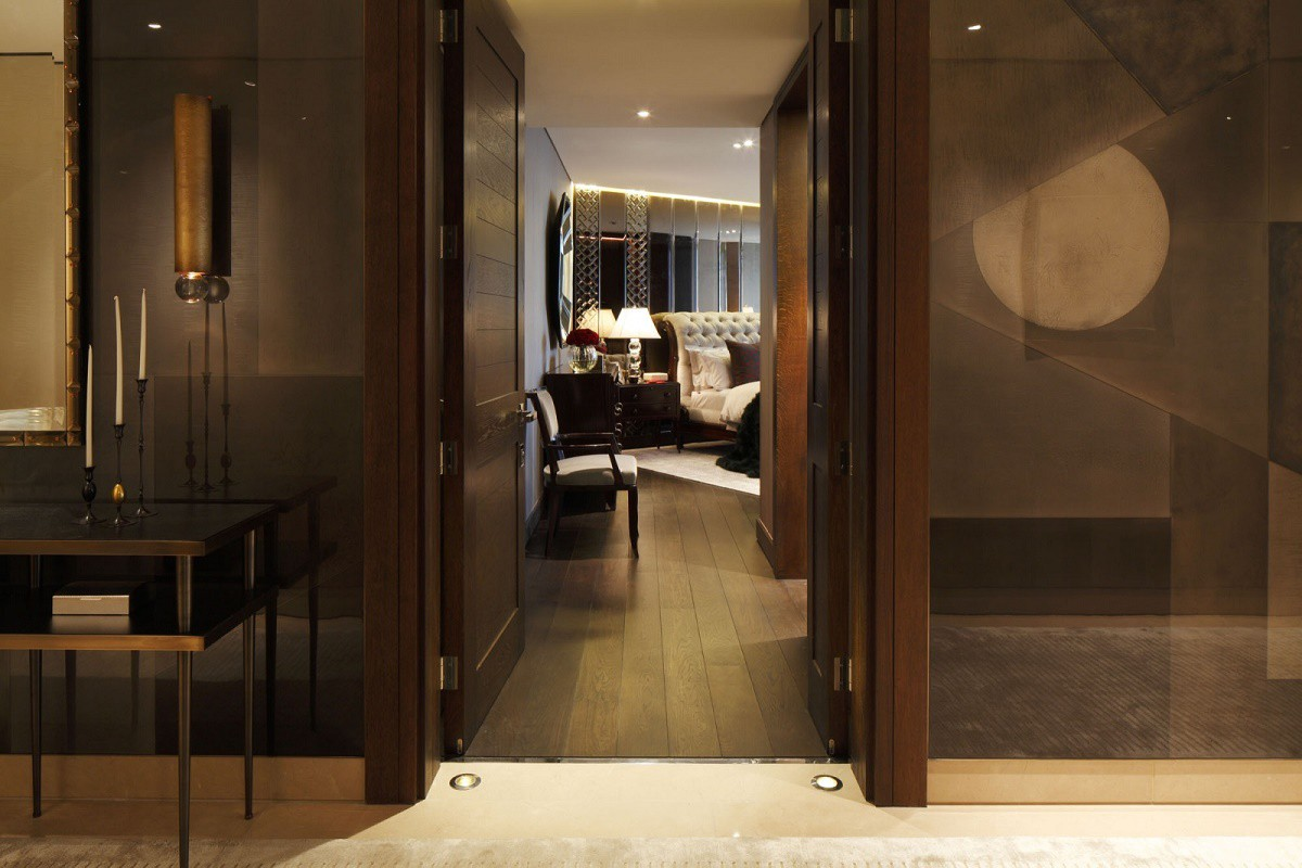 casa forma one hyde park bedroom entry with bespoke design wall panels