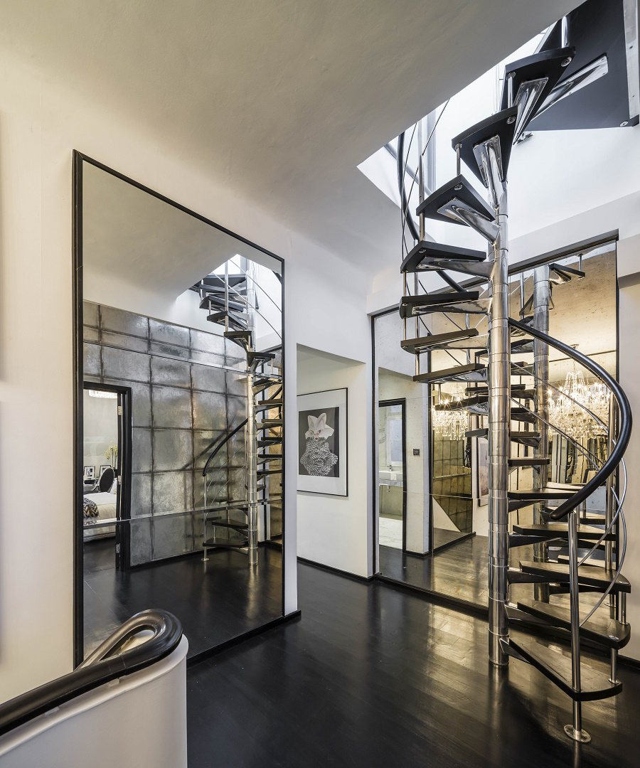 alexander mcqueen penthouse upper hall spiral staircase