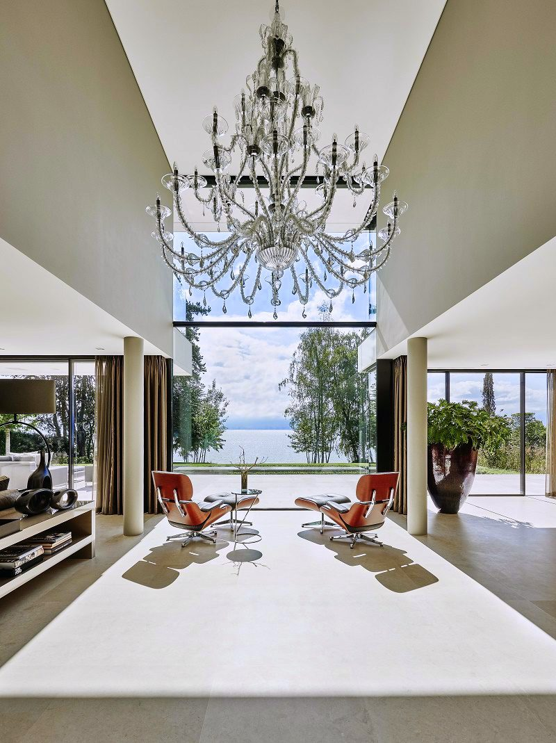 eric kuster contemporary lakeside villa central chandelier