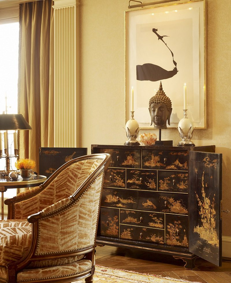 contemporary classical Chinoiserie cabinet