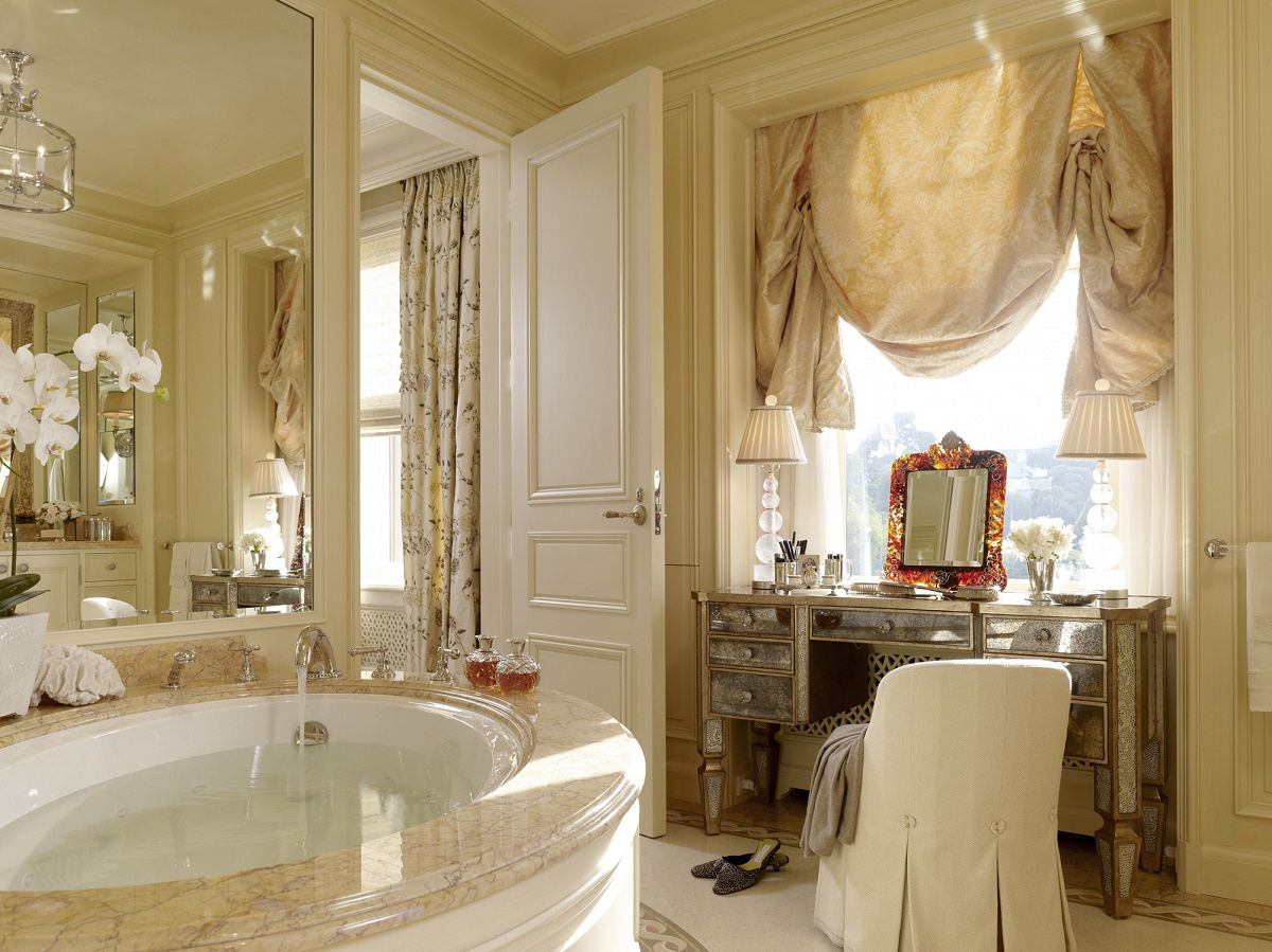 contemporary classical master bathroom hers
