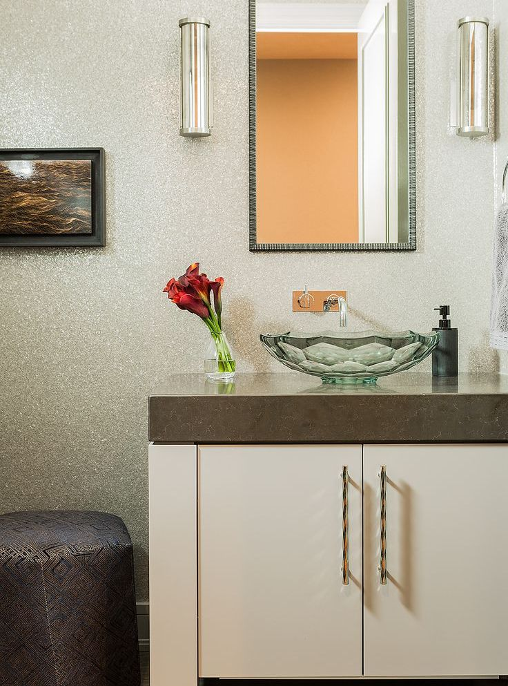 elms transitional style powder room