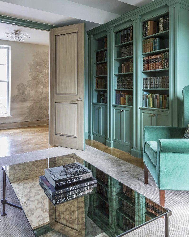 Gramercy Park transitional interior design library B